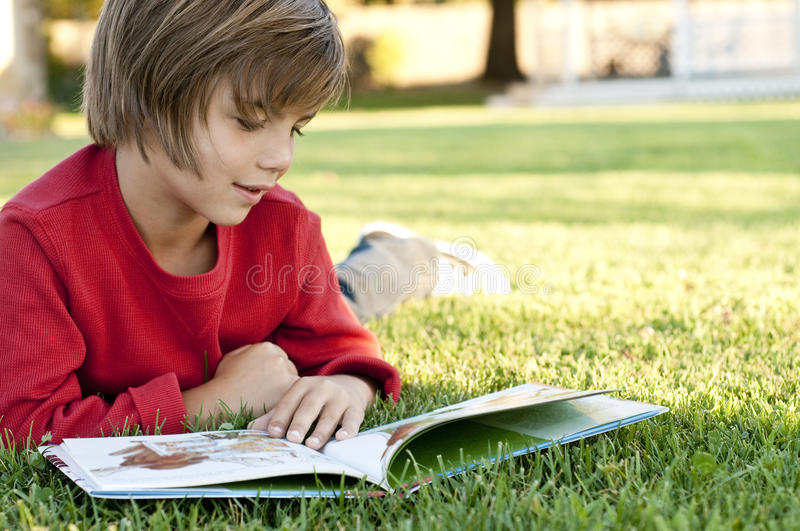 Download Boy reading stock image. Image of read, green, learning - 21080751