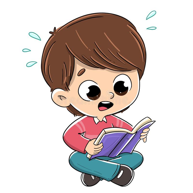 Free Boy Reading A Surprised Book Royalty Free Stock Images - 146828579