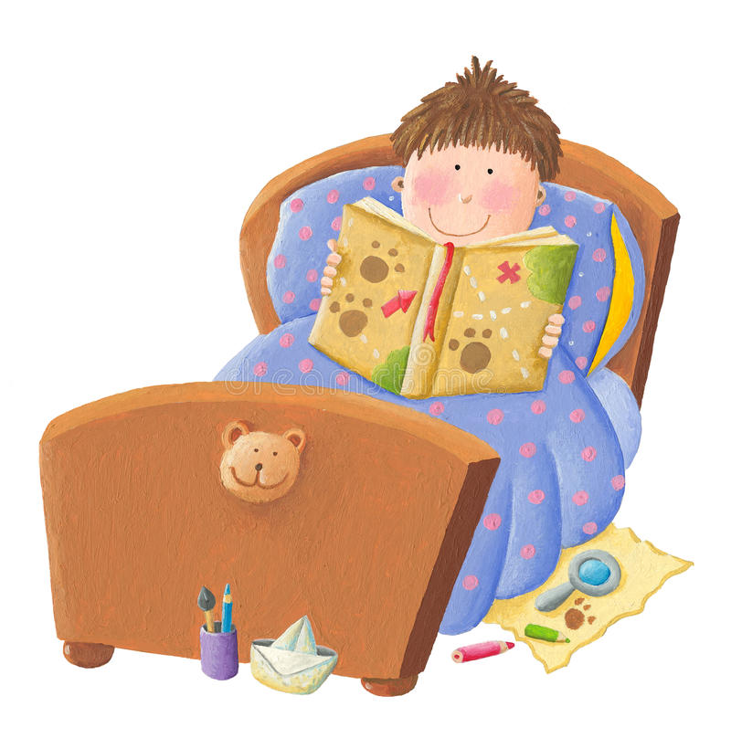 Boy reading bed time story royalty free illustration