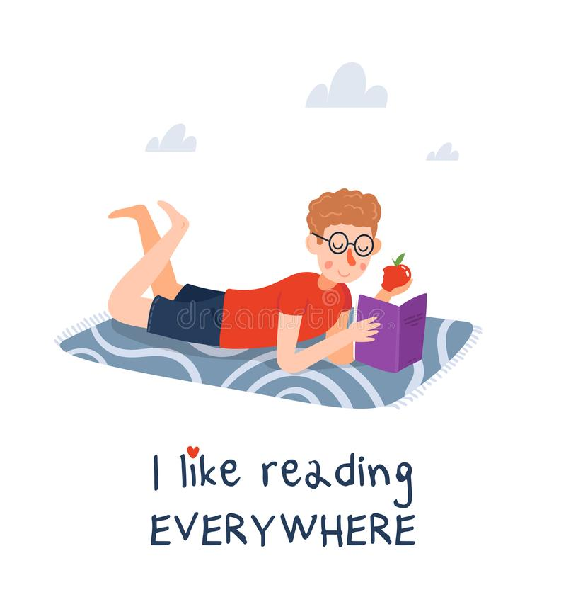 The boy is reading the book stock illustration