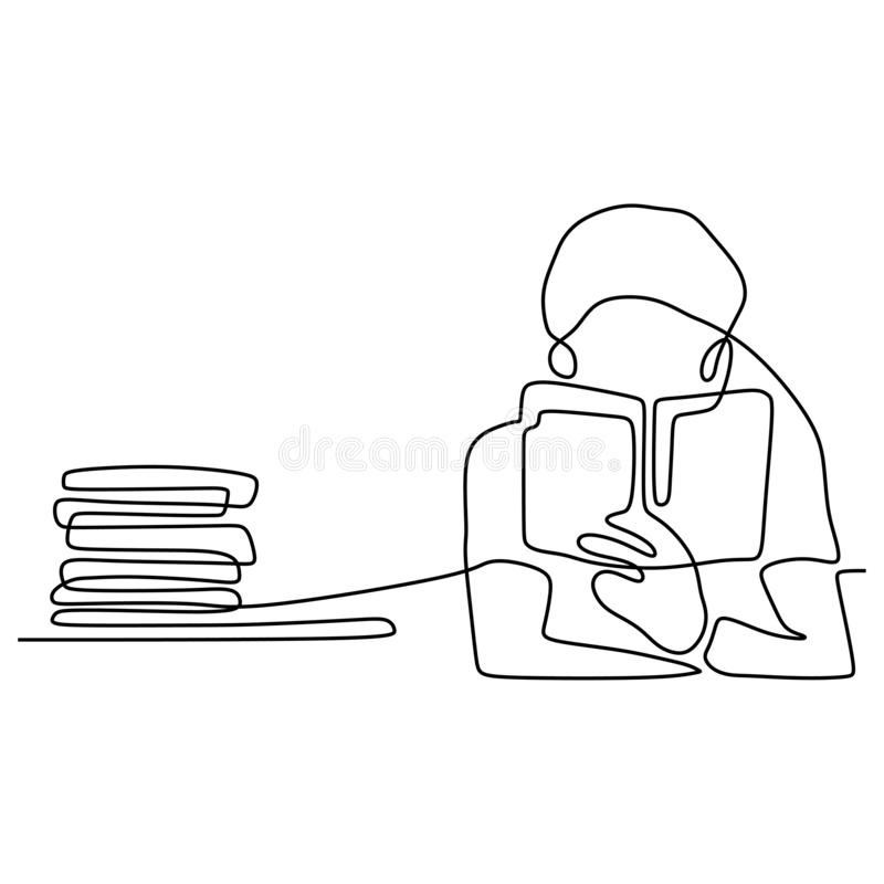 boy reading book continuous one line vector illustration minimalist concept education theme. Back to school design vector illustration