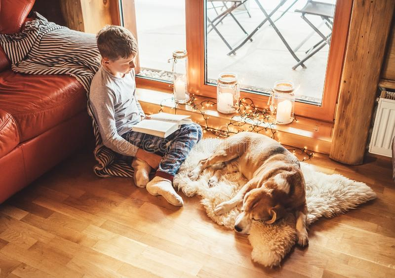 Boy reading book on the floor near slipping his beagle dog on sheepskin in cozy home atmosphere. Peaceful moments of cozy home stock photos