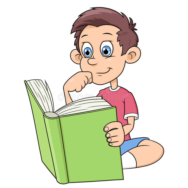 Boy is reading a book stock illustration
