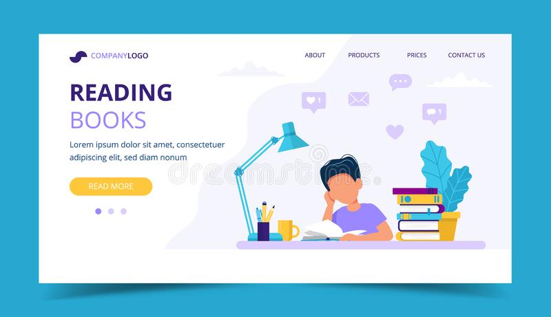 Boy reading a book landing page. Concept illustration for children education and studying. Vector illustration in flat. Vector illustration in flat style royalty free illustration