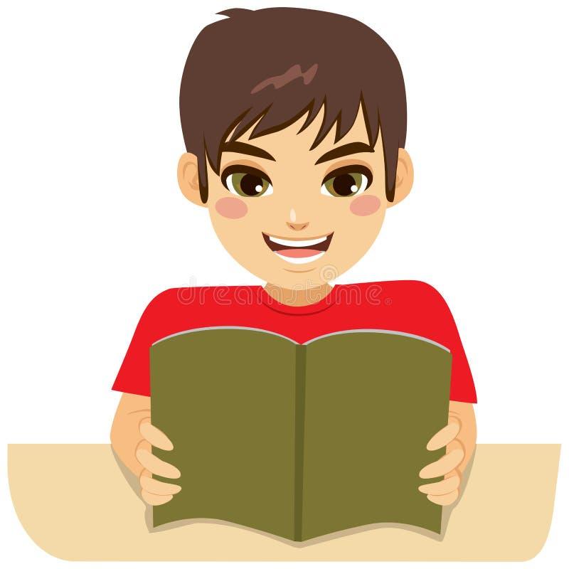 Boy Reading Book. Little teenager boy enjoying learning reading book royalty free illustration