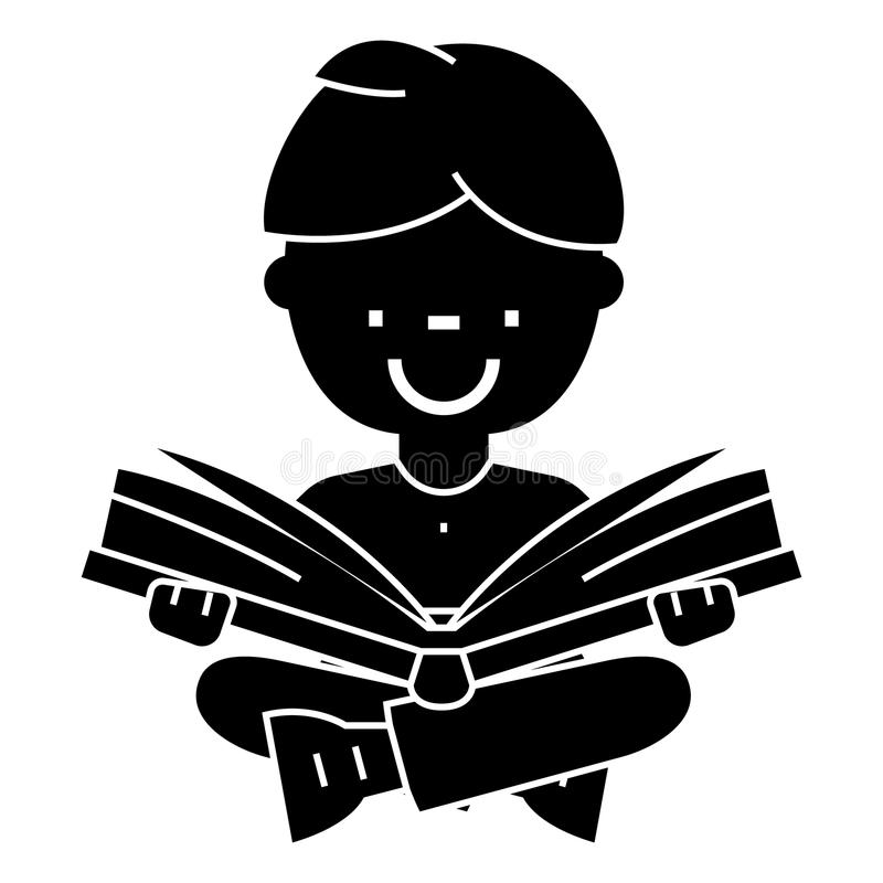Boy reading book, open book, sitting icon, vector illustration, sign on isolated background royalty free illustration