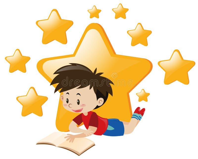 Boy reading book with stars background. Illustration royalty free illustration