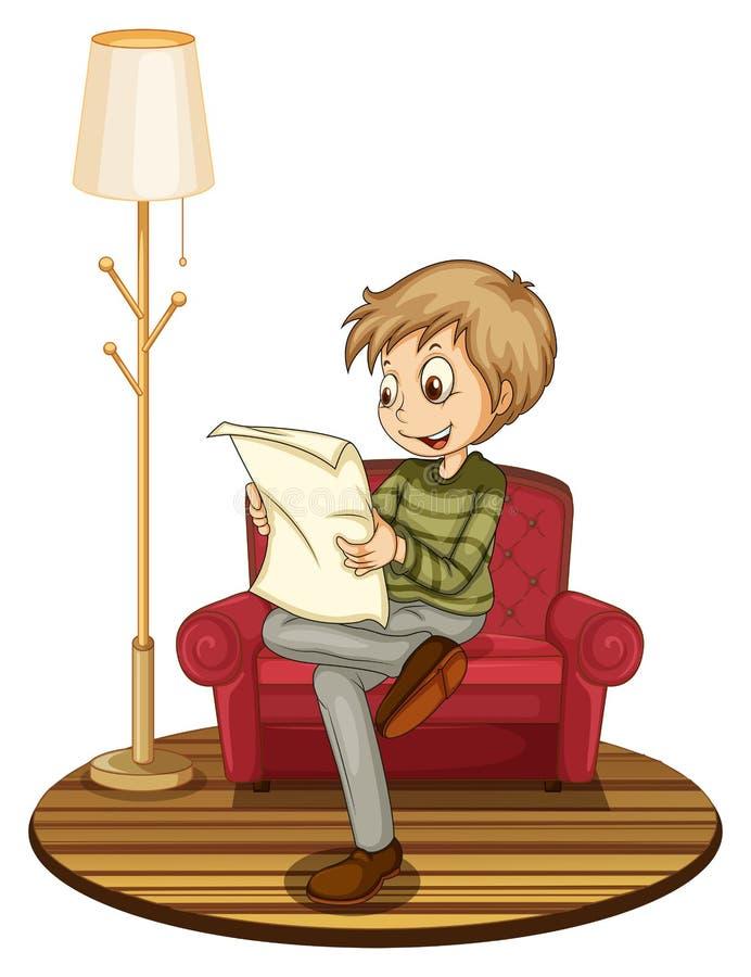 Boy reading newspaper. Illustration of a boy reading a newspaper on a sofa vector illustration