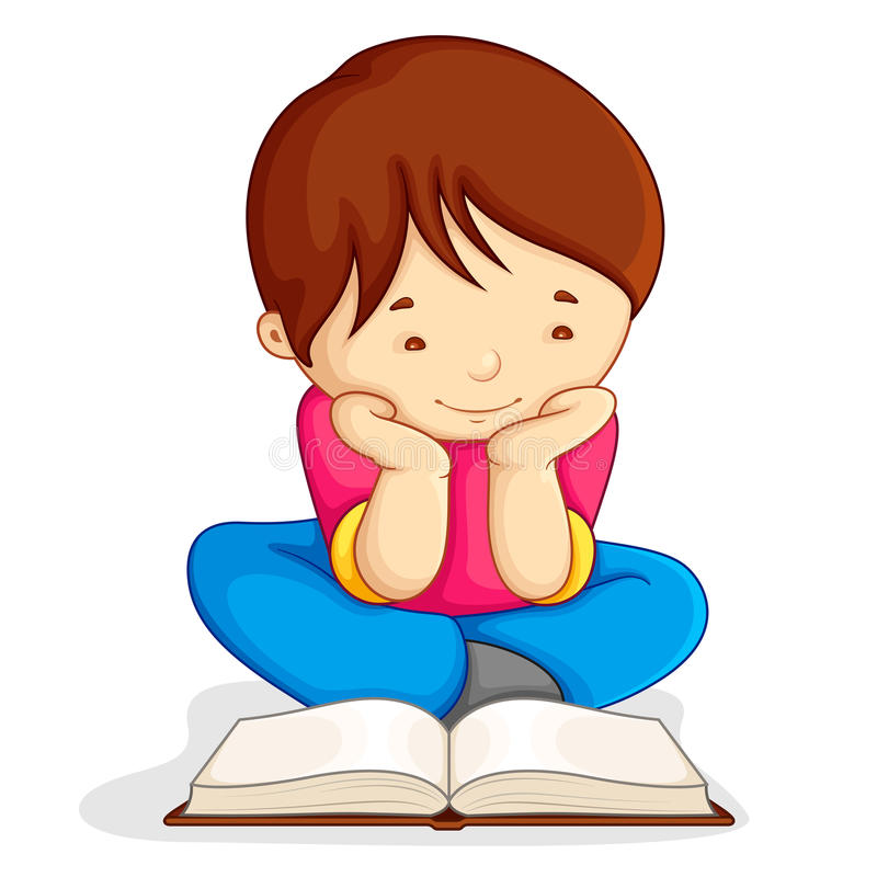 Boy reading Open Book vector illustration
