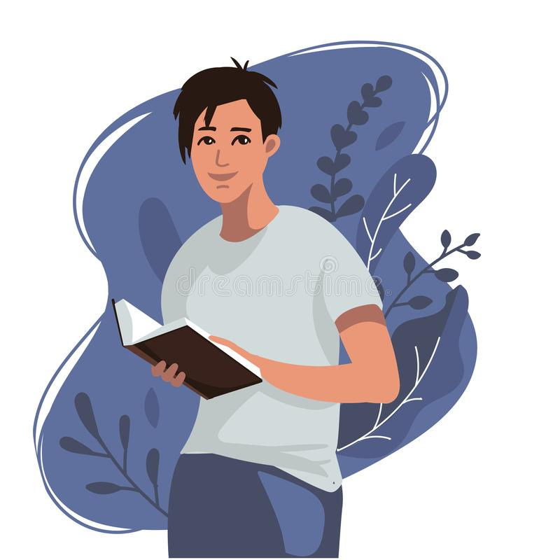 Boy reading opened book in his hands. Education, modern abstract background.Concept studying, self education.Vector illustration stock illustration