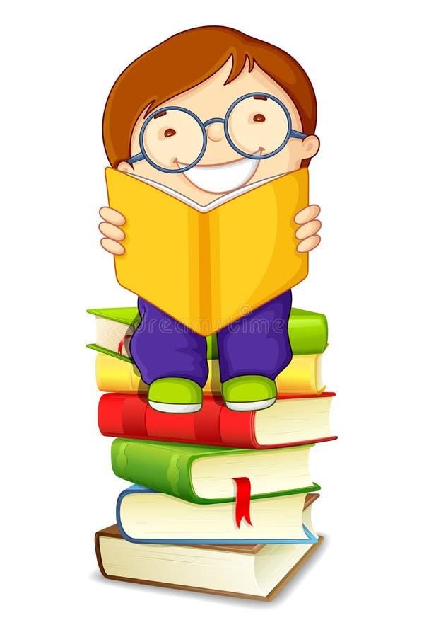 Boy Reading on Pile of Books royalty free illustration