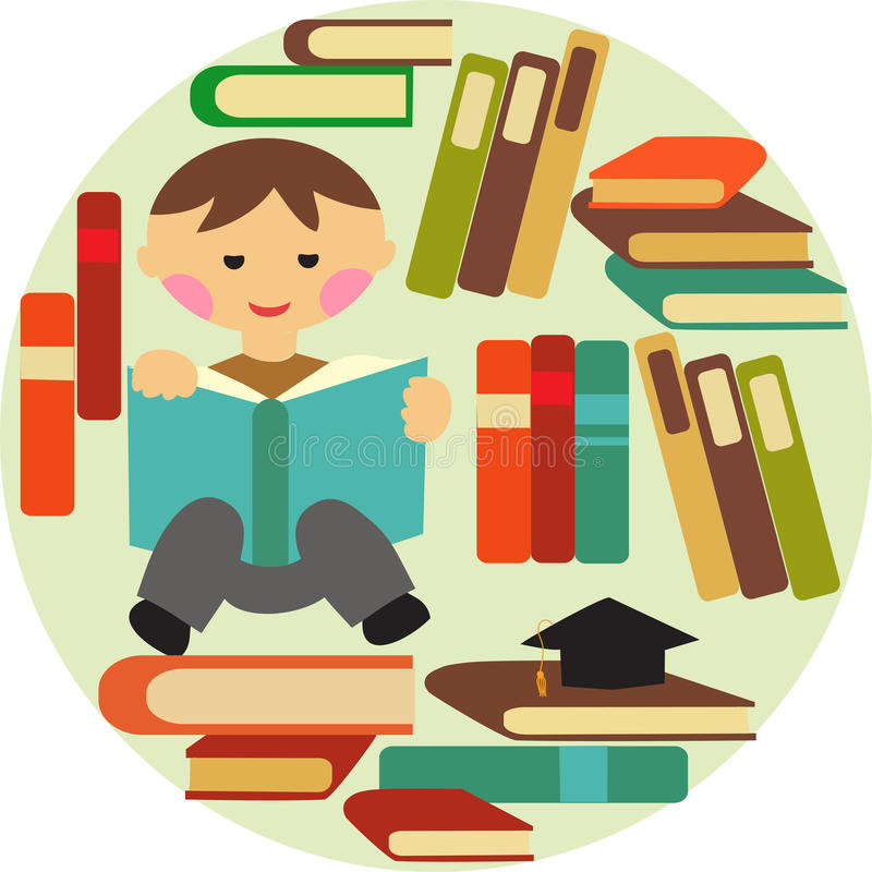 Download Boy Reading On Pile Of Books Stock Vector - Image: 26153838