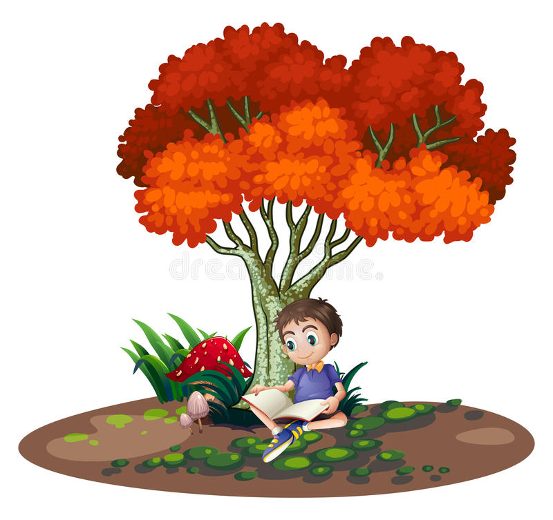 A boy reading under the tree vector illustration