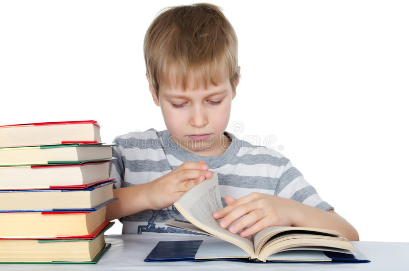 Download The boy reads the book stock image. Image of lesson, cheerful - 22583279