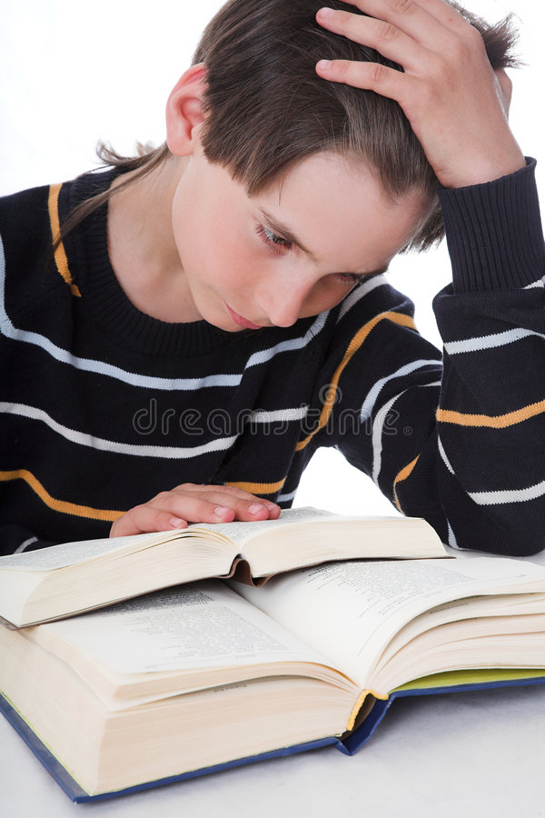 Free Boy Reads Book Royalty Free Stock Photos - 2356068