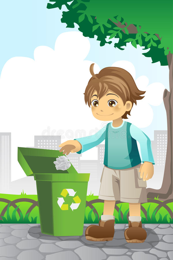 Boy recycling paper royalty free illustration