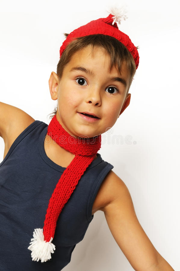Download Boy in a red hat and scarf stock image. Image of christmas - 10670169