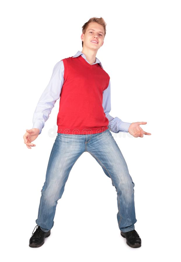 Boy in red jacket dancing stock photos