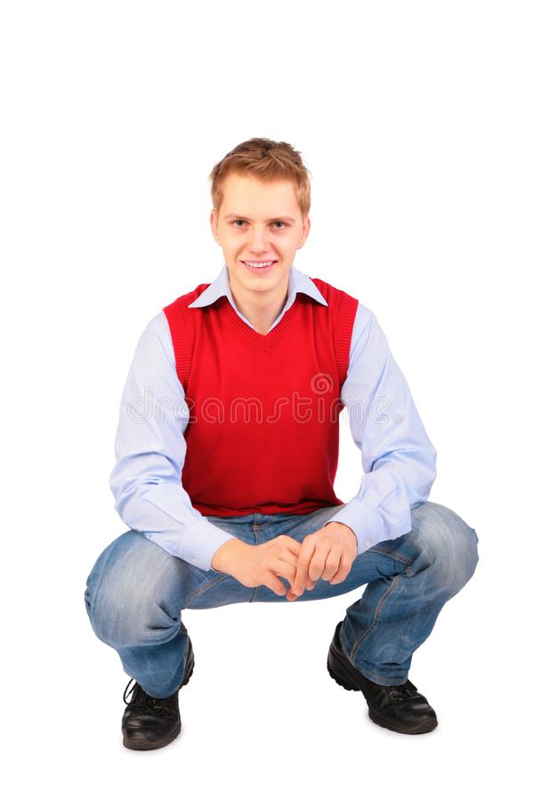 Boy in red jacket sits royalty free stock images