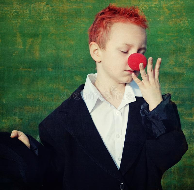 Download Boy with red nose stock image. Image of funny, cute, young - 8601633
