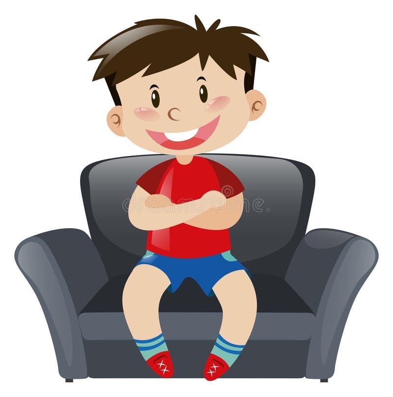 Boy in red shirt sitting on sofa. Illustration vector illustration