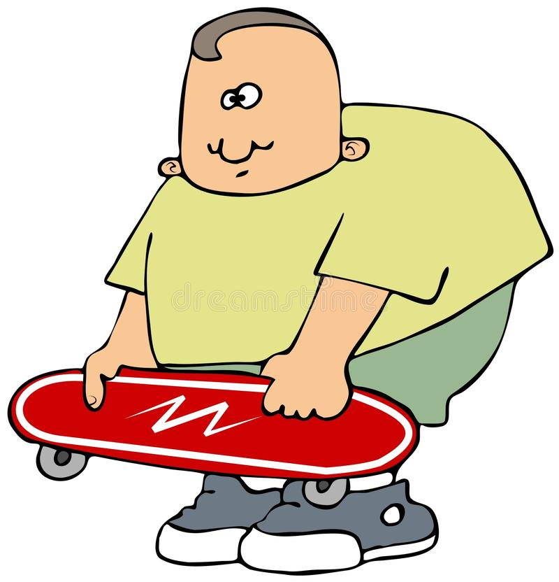 Download Boy with a red skateboard stock illustration. Image of hold - 30505096