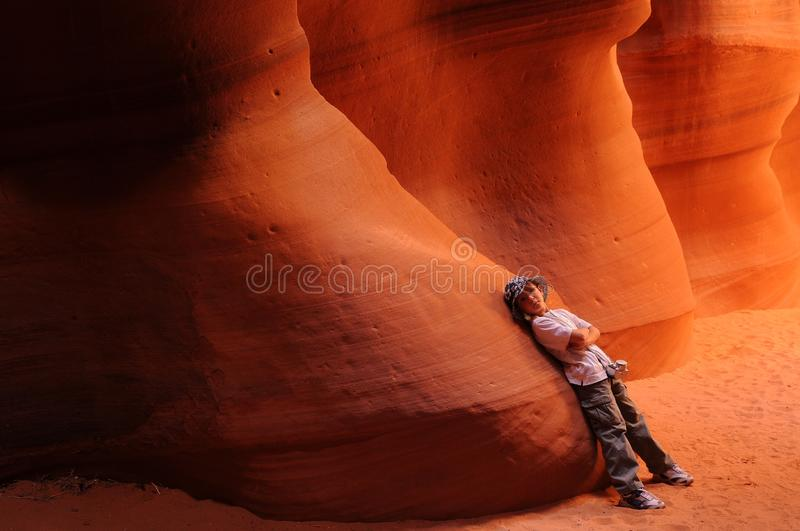 Boy resting in Antelope Canyon stock photography