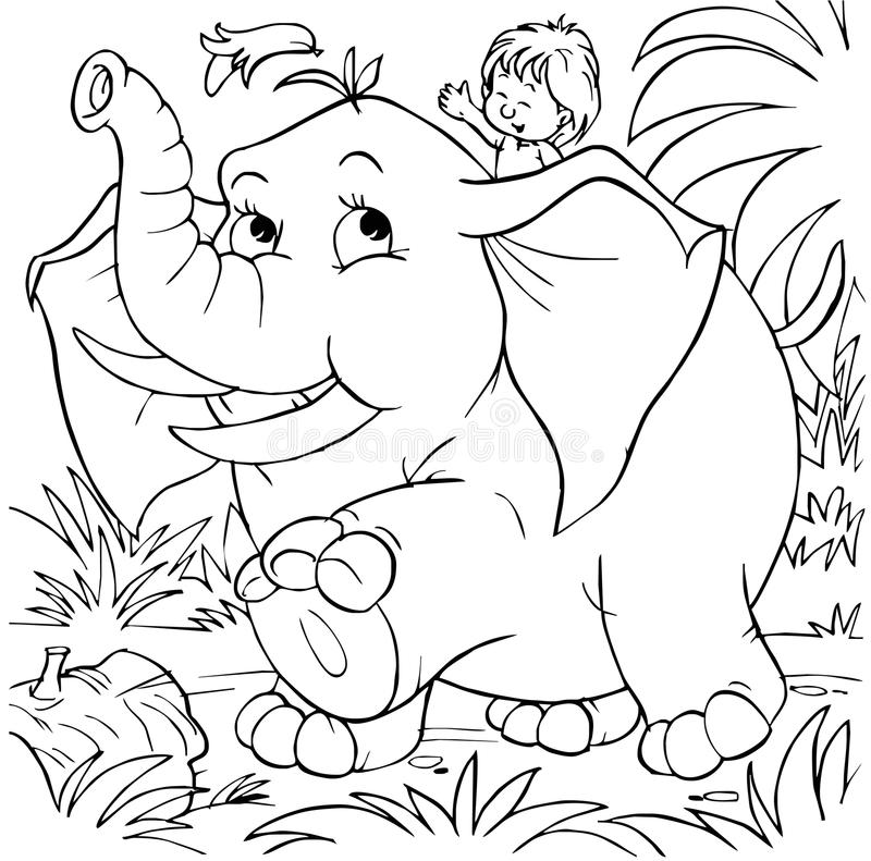Download Boy rides an elephant stock illustration. Illustration of small - 14555625