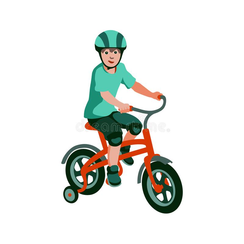 Boy rides a tricycle vector illustration