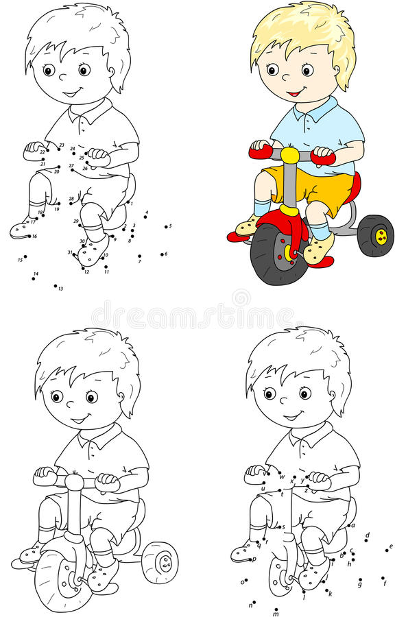 Free Boy Riding A Bike. Vector Illustration. Coloring And Dot To Dot Stock Photo - 65034980