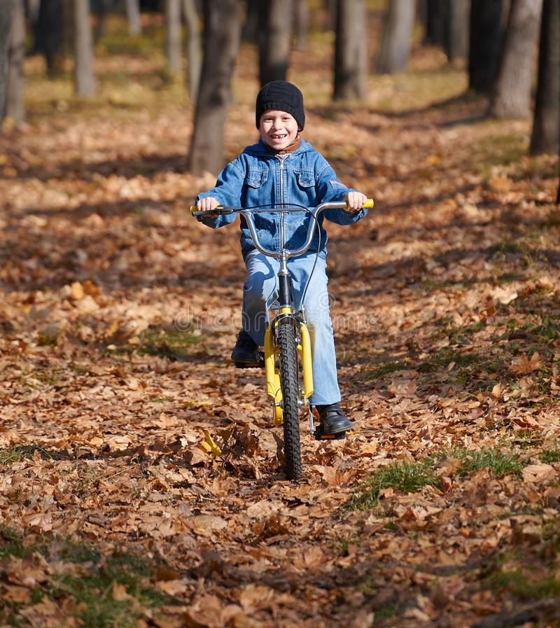 Boy riding on Bicycle, autumn city park, bright sunny day, fallen leaves on background stock images