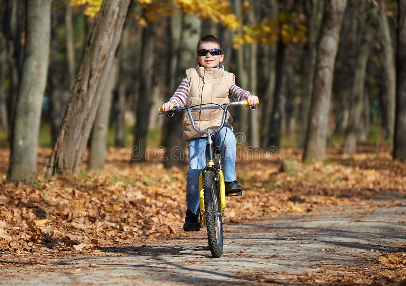 Boy riding on Bicycle in autumn Park, bright sunny day, fallen leaves on background stock image