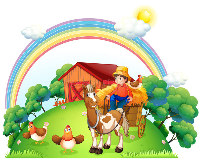 A boy riding in his farm cart. Illustration of a boy riding in his farm cart on a white background stock illustration