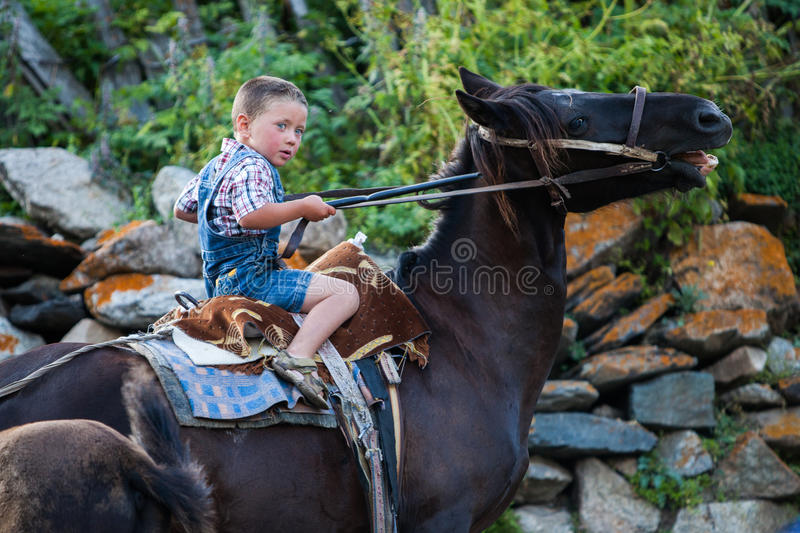 Boy riding horse stock image