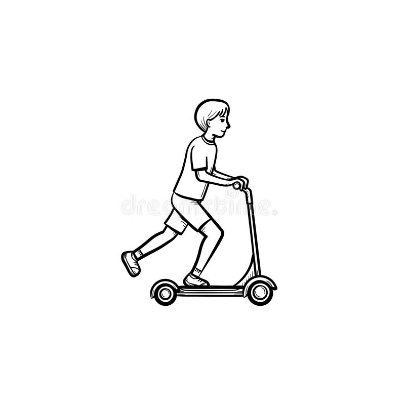 Boy riding a kick scooter hand drawn sketch icon. vector illustration