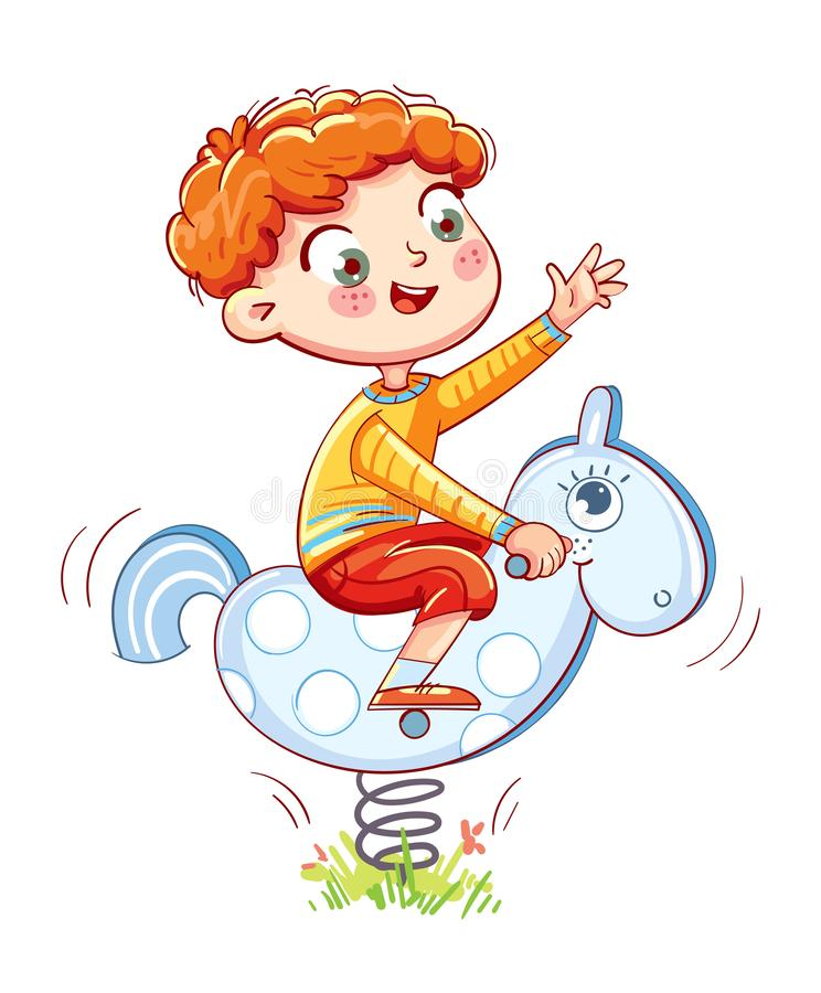 Boy riding on the spring rocking-horse. Playground. Kids zone. Place for games. Funny cartoon character. Vector illustration. Isolated on white background stock illustration
