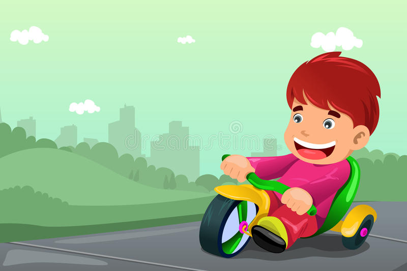 Boy riding tricycle royalty free illustration