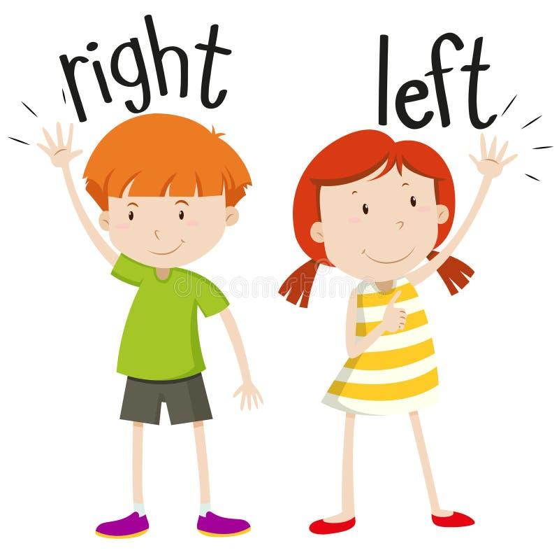Boy on the right girl on the left. Illustration stock illustration