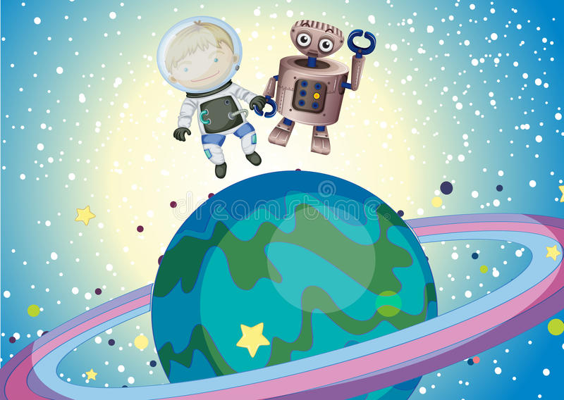 Download A Boy And A Robbot In The Outer Space Stock Vector - Image: 32710208