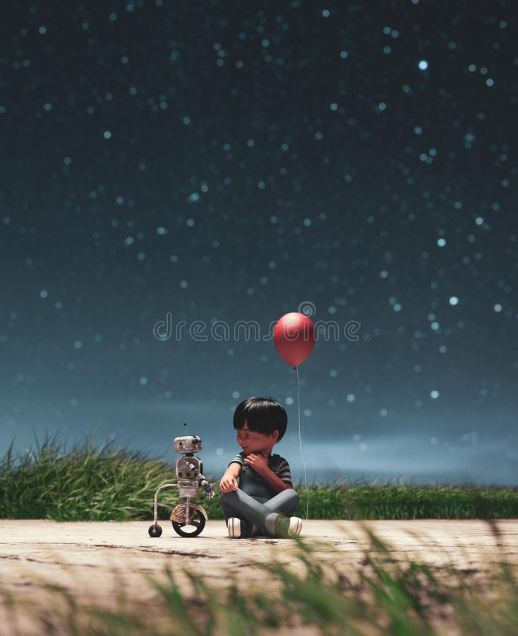 Boy with robot at the park in starry night conceptual background. 3d rendering stock illustration