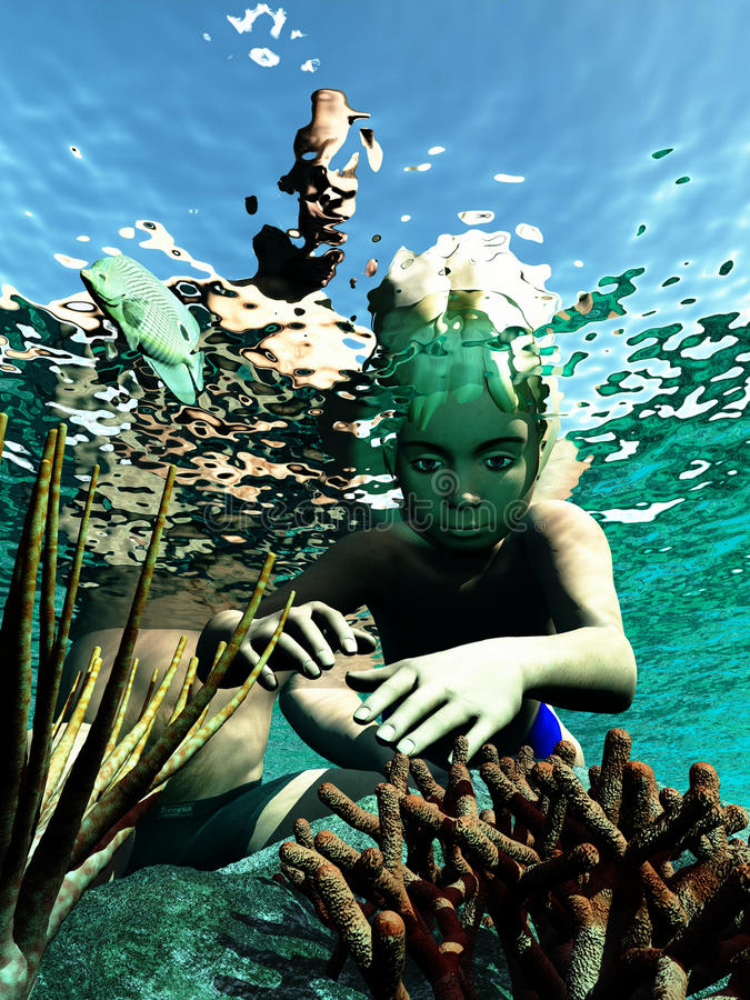Boy in rock pool. Young boy explores life in rock pool under dad's watchful eye stock illustration
