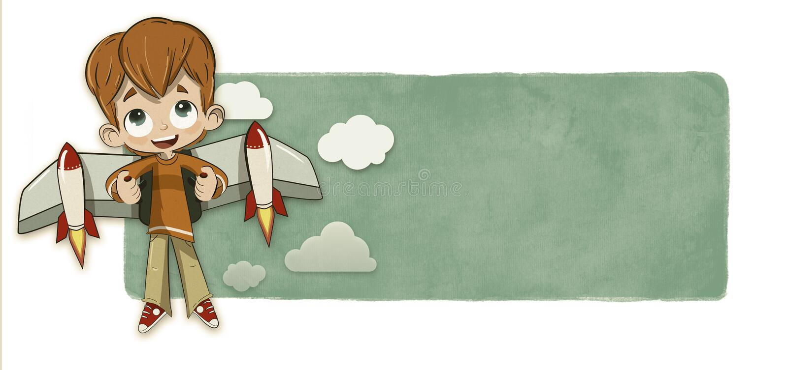 Boy and rocket wings vector illustration