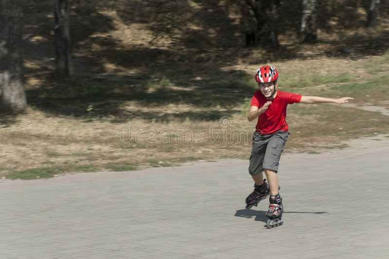 Download Boy on the rollerblades stock photo. Image of outdoors - 8761146