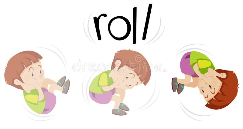 Boy in rolling action royalty free illustration