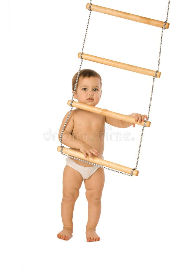 Boy with a rope-ladder 2 royalty free stock images