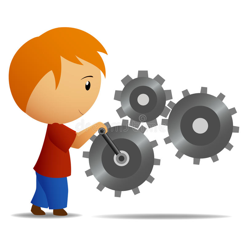 Free Boy Rotate The Lever Of Gear Mechanism Royalty Free Stock Image - 20842846