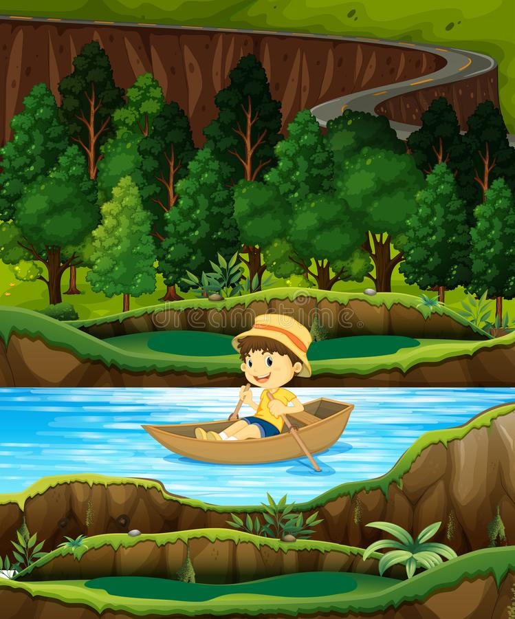 Boy in a row boat on a stream royalty free illustration