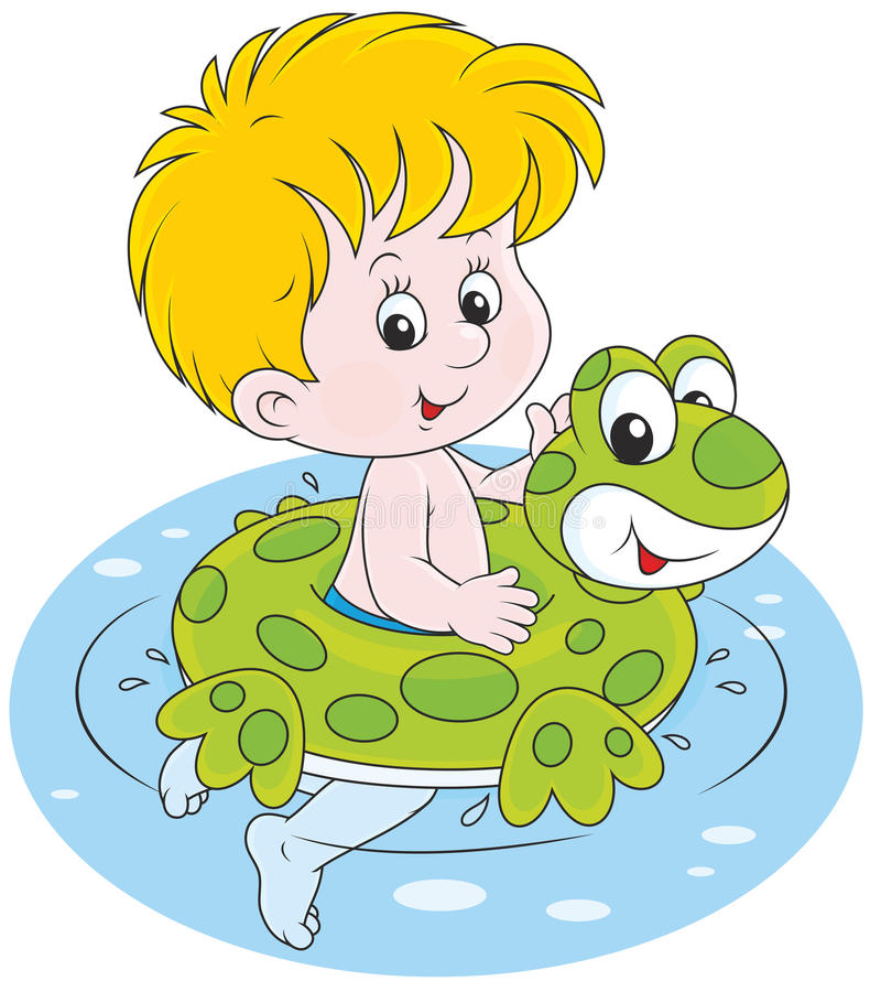 Boy with a rubber ring. Happy little boy swimming with a rubber ring stock illustration