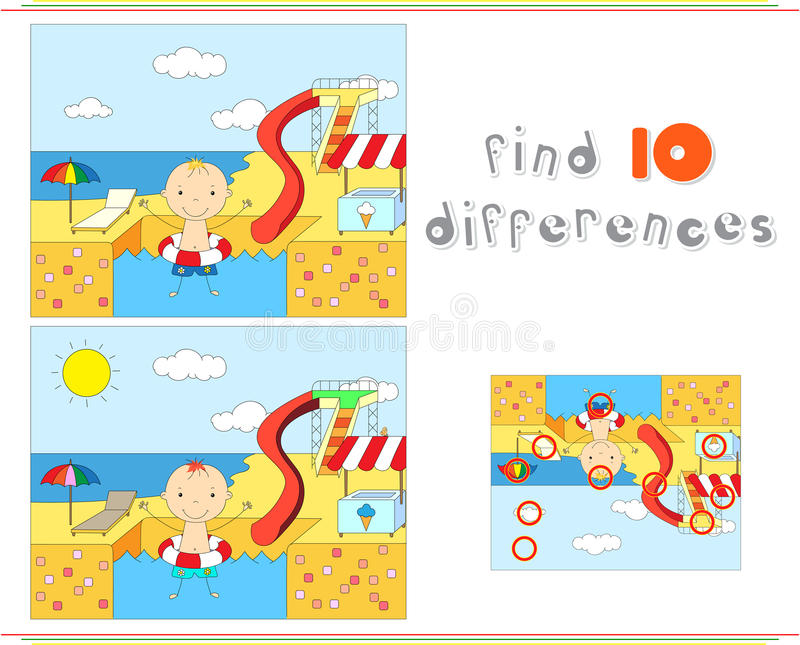 Boy with a rubber ring in the water park swimming pool. Educational game for kids: find ten differences stock illustration