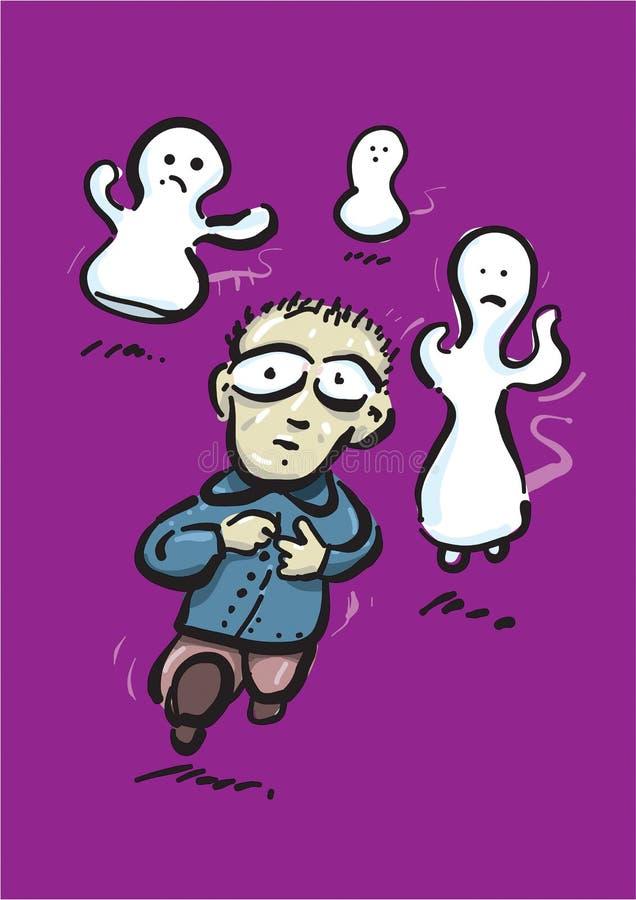 Boy run before ghosts vector illustration